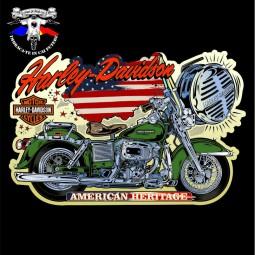 detaliu tricou harley davidson american heritage