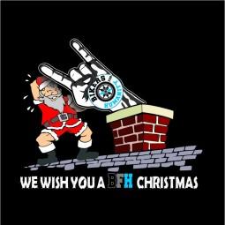 detaliu tricou craciun Bikers for Humaniy