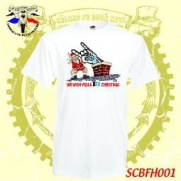 exemplu tricou alb craciun Bikers for Humaniy