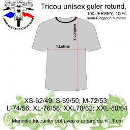 tabel marimi tricou unisex