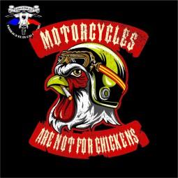 Detaliu print tricou Motorcycles are not for chickens Calare pe doua roti