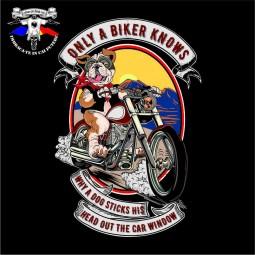 detaliu tricou only a biker knows